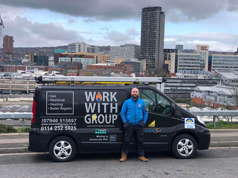 Gerry in front of Work With Group Van