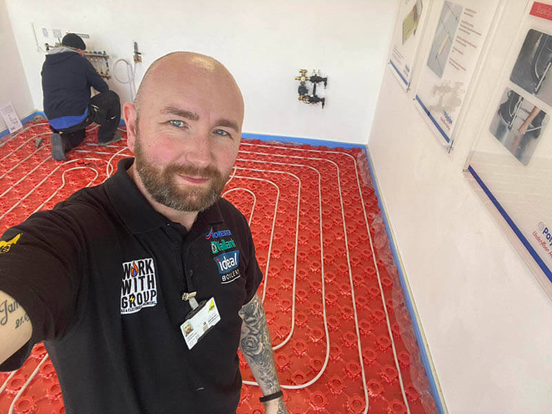 Gerry installing Underfloor heating